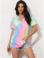 cheap -Women's Blouse Tie Dye Tops Round Neck Daily Summer Blushing Pink XS S M L