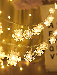 cheap -Christmas Decoration 5M 50LED Snowflake LED String Lights Battery Powered Fairy Light Living Room Outdoor Tree Christmas Halloween Wedding Decoration Light Without Battery