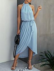 cheap -Women's A-Line Dress Maxi long Dress Sleeveless Solid Color Print Summer Hot Casual 2021 Dusty Blue Light Blue S M L XL XXL