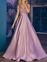 cheap -A-Line Beautiful Back Elegant Engagement Prom Dress V Neck Sleeveless Floor Length Satin with Sash / Ribbon Beading 2021