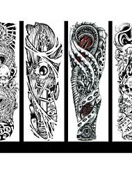 cheap -6 Sheets Randomly Full Arm Temporary Tattoo Tattoo Designs Konsait Extra Temporary Tattoo Black tattoo Body Stickers for Man Women QB17-QB24