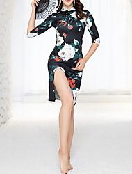 preiswerte -Latein-Tanz Kleid Geschlitzt Muster / Druck Damen Training Leistung Halbe Ärmel Baumwolle
