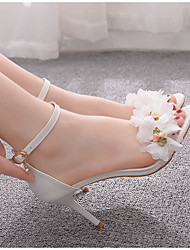 cheap -Women's Sandals Summer Stiletto Heel Pointed Toe Daily Floral PU White