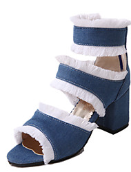 cheap -Women's Heels Spring / Summer Cuban Heel Peep Toe Sexy Sweet Minimalism Daily Party & Evening Solid Colored Denim Black / Blue / Gray