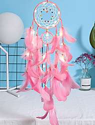 cheap -Led Boho Dream Catcher Handmade Gift Wall Hanging Decor Art Ornament Craft Feather 2 Circle Bead 55*11cm for Kids Bedroom Wedding Festival