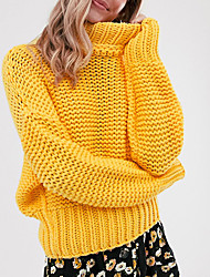 cheap -Women's Solid Colored Long Sleeve Pullover Sweater Jumper, Turtleneck Fall / Winter Yellow S / M / L