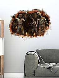 billige -3d halloween zombier vægklistermærker dekorative vægklistermærker, pvc boligdekoration vægoverføringsbillede vægdekoration / aftagelig