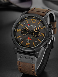 cheap -CURREN Men's Dress Watch Quartz Formal Style Modern Style Luxury Water Resistant / Waterproof Calendar / date / day Shock Resistant Analog Black / Yellow White+Silver Red / One Year / Leather