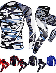 cheap -JACK CORDEE Men's 2-Piece Activewear Set Workout Outfits Compression Suit Athletic Quick Dry Fitness Gym Workout Basketball Running Sportswear Camo Clothing Suit Black / Red White Black Yellow