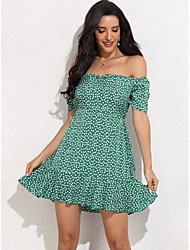 cheap -Women's Sheath Dress Short Mini Dress - Short Sleeve Polka Dot Summer Sexy 2020 Green XS S M L