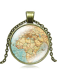 cheap -Women's Pendant Necklace Handmade Maps Vintage Steampunk Glass Alloy Bronze 50 cm Necklace Jewelry For Gift Festival