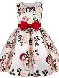 cheap -Kids Little Girls' Dress Floral Bow Beige Knee-length Sleeveless Active Sweet Dresses