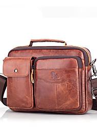cheap -Men's Bags Nappa Leather Laptop Bag Briefcase Top Handle Bag Belt Zipper 2020 Office & Career Light Coffee Dark Brown Black