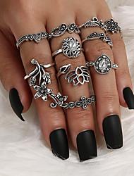 cheap -Ring Vintage Style Silver Alloy Flower Crown Petal Classic Vintage Trendy 10pcs 5 / Women's