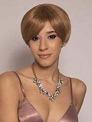 cheap -Remy Human Hair Wig Short Silky Straight Pixie Cut Brown Easy to Carry Best Quality New Arrival Capless Brazilian Hair Burmese Hair Women's Medium Auburn#30 12 inch