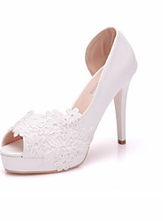 cheap -Women's Wedding Shoes Summer Pumps Peep Toe Wedding Daily PU White