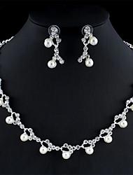 cheap -Women's White Pearl Bridal Jewelry Sets Geometrical Flower Boho Earrings Jewelry Silver For Festival 1 set