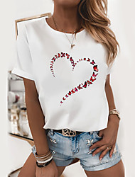 cheap -Women's T shirt Heart Graphic Prints Skull Round Neck Tops Slim 100% Cotton Basic Top Cat White Black