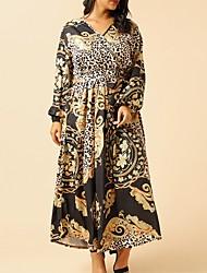 cheap -Women's A-Line Dress Maxi long Dress - Short Sleeves Floral Summer Boho 2020 Gold XL XXL XXXL XXXXL