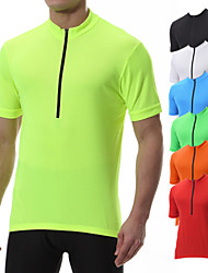 cheap -21Grams Men's Short Sleeve Cycling Jersey Polyester Black Yellow Blue Solid Color Bike Tee Tshirt Jersey Top Mountain Bike MTB Road Bike Cycling Breathable Quick Dry Back Pocket Sports Clothing
