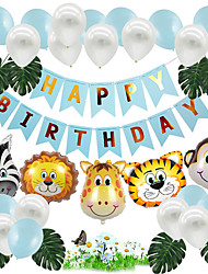 cheap -Party Balloons 25+9 pcs Animal Series Lion Zebra Party Supplies Latex Balloons Banner Boys and Girls Party Birthday Decoration 10inch for Party Favors Supplies or Home Decoration