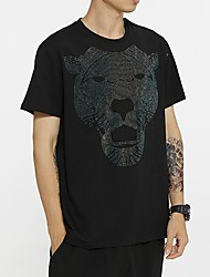 cheap -Men's Animal T shirt Sequins Short Sleeve Daily Tops Cotton Basic Round Neck Black
