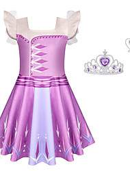 cheap -Frozen Dress Cosplay Costume Girls' Movie Cosplay Halloween Purple Dress Wand Halloween New Year Polyester / Cotton