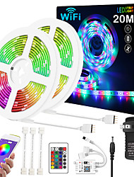 cheap -ZDM Upgraded 65ft 2*10 Meters WIFI App Intelligent Control 5050 RGB LED Soft Strip Light with IR 24 Key Controller or DC12V Adapter Kit