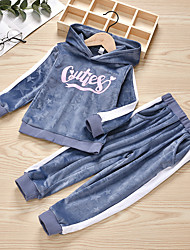 cheap -Kids Girls' Basic Chinoiserie Daily Wear Festival Striped Solid Colored Long Sleeve Regular Regular Clothing Set Gray
