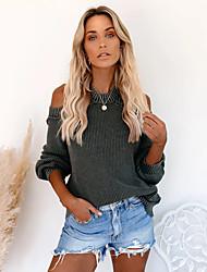 povoljno -Žene Ležerno / za svaki dan Klasičan Jednobojni Pullover Dugih rukava Duks džemper Vezanje na vratu Jesen Zima Crn Plava