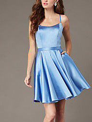 cheap -A-Line Beautiful Back Flirty Homecoming Cocktail Party Dress Spaghetti Strap Sleeveless Short / Mini Satin with Sash / Ribbon Criss Cross 2020