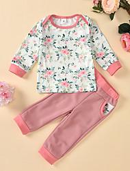 cheap -Baby Girls' Casual Basic Floral Print Patchwork Print Long Sleeve Regular Regular Clothing Set White