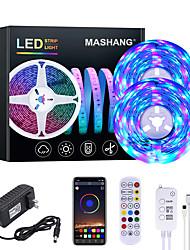 cheap -MASHANG 32.8ft 10M RGB LED Strip Lights Music Sync Smart LED Lights Tiktok Lights 600LEDs SMD 2835 Color Changing with 24 keys Remote Bluetooth Controller for Home Bedroom TV Back Lights DIY Deco
