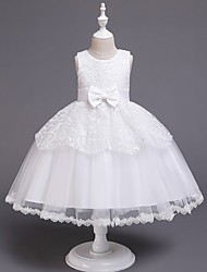 cheap -Princess / Ball Gown Knee Length Wedding / Party Flower Girl Dresses - Tulle Sleeveless Jewel Neck with Sash / Ribbon / Bow(s) / Paillette