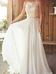 cheap -Sheath / Column Wedding Dresses Jewel Neck Sweep / Brush Train Chiffon Lace Sleeveless Beach Sexy with Appliques 2021