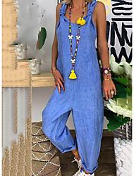 cheap -Women's Blue Jumpsuit Onesie, Solid Colored M L XL