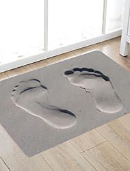 cheap -Footprints On Grey Sand Modern Bath Mats Nonwoven / Memory Foam Novelty Bathroom