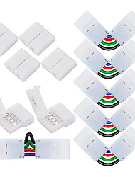 cheap -6 Sets 4-Pin RGB LED Light Strip Connector LED PBC 10mm Gapless Strip to Strip Solderless Adapter for SMD 5050 Multicolor LED Strip DC5-36V