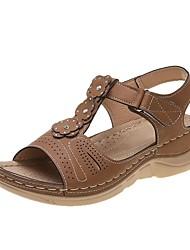 povoljno -Žene Sandale Ljeto Ravna potpetica Otvoreno toe Klasik minimalizam Dnevno Vanjski PU Tamno smeđa / Crn / Plava