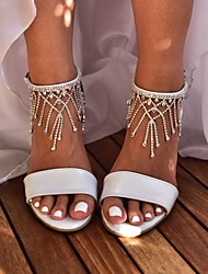 cheap -Women's Wedding Shoes Pumps Open Toe Basic Boho Wedding Party & Evening Rhinestone Sparkling Glitter Tassel Solid Colored PU Summer White / Ivory