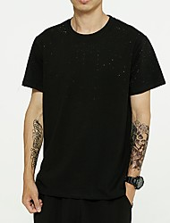 cheap -Men's Solid Colored T shirt Sequins Short Sleeve Daily Tops Cotton Basic Round Neck Black