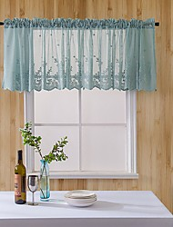 cheap -Lace Sheer Kitchen Cafe Curtain Valance Floral Embroidered Rod Pocket Short Curtain for Small Window 1 Piece