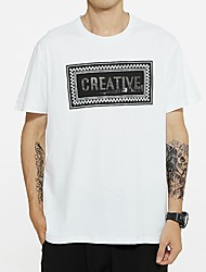cheap -Men's Letter T shirt Sequins Short Sleeve Daily Tops Cotton Basic Round Neck White Black
