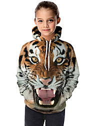 cheap -Kids Toddler Girls' Active Basic Tiger Geometric 3D Animal Print Long Sleeve Hoodie & Sweatshirt Brown