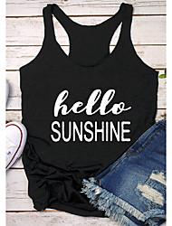 cheap -Women's T-shirt Graphic Prints Letter Print Round Neck Tops Slim 100% Cotton Basic Basic Top Black Yellow