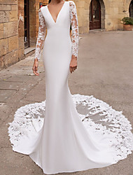 cheap -Mermaid / Trumpet Wedding Dresses V Neck Chapel Train Lace Satin Long Sleeve Country with Appliques 2021