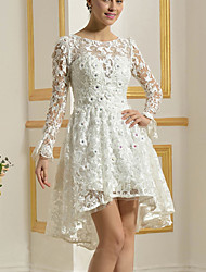 cheap -A-Line Wedding Dresses Jewel Neck Knee Length Lace Long Sleeve Vintage 1950s with Embroidery 2020