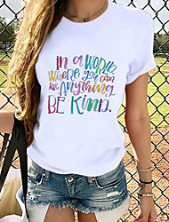 cheap -Women's Be kind T-shirt Graphic Prints Round Neck Tops Loose 100% Cotton Basic Top White