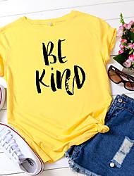 povoljno -Žene Majica s rukavima Slovo Print Okrugli izrez Tops 100% pamuk Osnovni Ljeto Lila-roza Obala Bijela