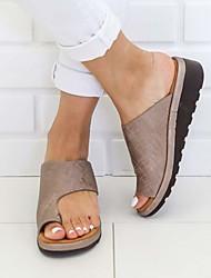 cheap -Women's Sandals Flat Sandals Bunion Sandals Summer Flat Heel Open Toe Casual Daily Solid Colored PU Leopard / Black / Purple